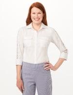 Ultimate Fit Button Front Crochet Trim Shirt - White - Front
