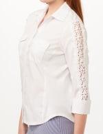 Ultimate Fit Button Front Crochet Trim Shirt - White - Detail