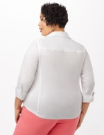 Ultimate Fit Button Front Shirt - Plus - White - Back