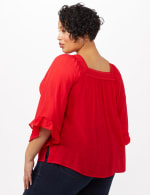 Bell Sleeve Square Neck Textured Top - Red Ginger - Back