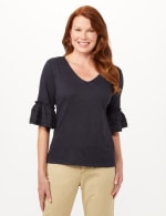 Ruffle Sleeve V-Neck Texture Knit Top - Navy - Front