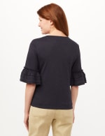Ruffle Sleeve V-Neck Texture Knit Top - Navy - Back