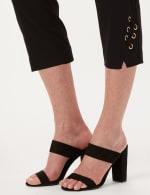 Pull-On Grommet Trim Crop Pants - Black - Detail