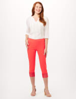 Pull-On Crop Pants with Crotchet Hem Detail - Coralicious - Front