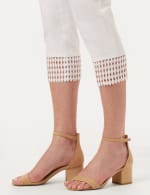 Pull-On Crop Pants with Crotchet Hem Detail - Optic White - Detail