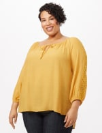 Peasant with Crochet Trim Top - plus - Gold - Front