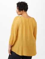 Peasant with Crochet Trim Top - plus - Gold - Back