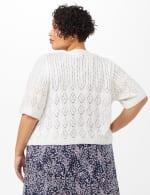 Elbow Sleeve Pointelle Cardigan - Plus - White - Back