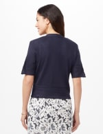 Short Sleeve Pointelle Trim Cardigan - Navy - Back