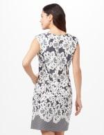 Lace Puff Print Scuba Dress - Navy/Ivory - Back