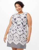 Lace Puff Print Scuba Dress - Plus - Navy/Ivory - Front