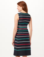 Stripe Fit and Flare Scuba Dress - Navy/Multi - Back