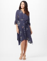 Tie Sleeve Embroidered Texture Shirt Dress - Navy - Front