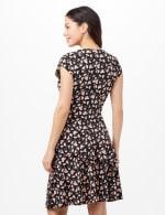 Faux Wrap Tier Hem Dress - Black/Coral - Back
