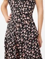 Faux Wrap Tier Hem Dress - Black/Coral - Detail