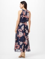 Floral Chiffon Elastic Waist Maxi Dress - Navy/Coral - Back