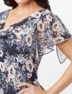 Floral Chiffon Drape Neck Hanky Hem Dress - Misses - Navy/Mauve - Detail
