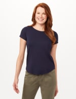 Crew Neck Shirttail Knit Tee - Navy - Front