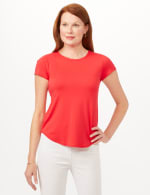 Crew Neck Shirttail Knit Tee - Vermillion Red - Front