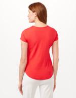 Crew Neck Shirttail Knit Tee - Vermillion Red - Back