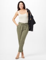 Texture Ankle Pants with Tie Waist - Olive - Front