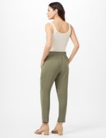 Texture Ankle Pants with Tie Waist - Olive - Back