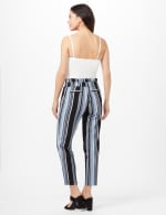 Stripe Pull-On Pants with Tie Waist - Blue/Black - Back
