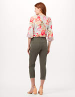 Belted Cargo Pants with Roll Cuff Bottom - Balsam Green - Back
