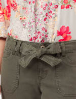 Belted Cargo Pants with Roll Cuff Bottom - Balsam Green - Detail