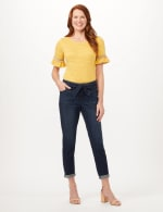 Belted Cargo Pants with Roll Cuff Bottom - Dark Wash - Front