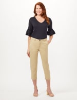 Midrise Crop Pants with Back Cargo Pockets - Khaki - Front