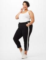Cropped Tuxedo Stripe Knit Pants - Black/White - Front