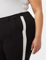 Cropped Tuxedo Stripe Knit Pants - Black/White - Detail