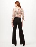 Knit Crepe High Rise Wide Leg Pants - Black - Back