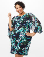 Floral Knit Dress with Chiffon Sleeves - Navy - Front