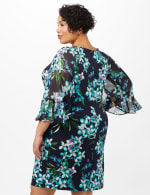 Floral Knit Dress with Chiffon Sleeves - Navy - Back