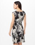 Drape Neck Side Pintuck Dress - Black - Back