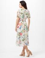 Floral Chiffon Wrap Ruffle Dress - Ivory/Pink - Back