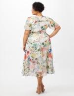 Floral Chiffon Wrap Ruffle Dress - Plus - Ivory/Pink - Back