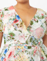 Floral Chiffon Wrap Ruffle Dress - Plus - Ivory/Pink - Detail