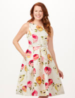 Jacquard Box Pleat Belted Dress with Pockets - Ivory/Multi - Front
