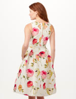 Jacquard Box Pleat Belted Dress with Pockets - Ivory/Multi - Back