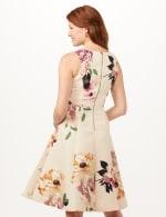 Jacquard Box Pleat Floral Dress - Powder/Mauve - Back