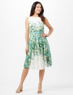 Printed Lace Belted Fit and Flare Dress - Green/Teal/Yellow - Front