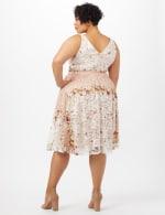 Printed Lace Dress with Grosgrain Ribbon Belt - Cream/Blush - Back