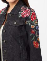 Long Sleeve Embroidered Denim Jacket - Black Denim - Detail