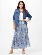 Crinkle Pleated Floral Skirt - Blue - Front