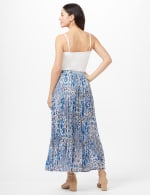 Crinkle Pleated Floral Skirt - Blue - Back