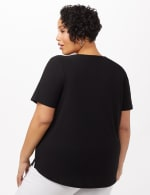 Three Button Crepe Tee Knit Top - Plus - Black - Back