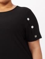 Three Button Crepe Tee Knit Top - Plus - Black - Detail